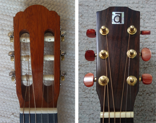 The different heads of a classical and an acoustic guitar