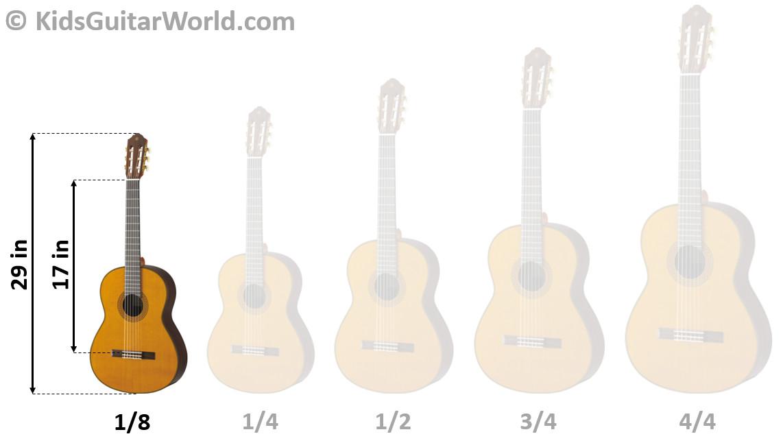 guitar size chart 1/8