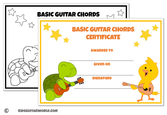 guitar certificate for kids